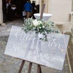 Hochzeit im Schloss Grafenegg, Willkommenschild